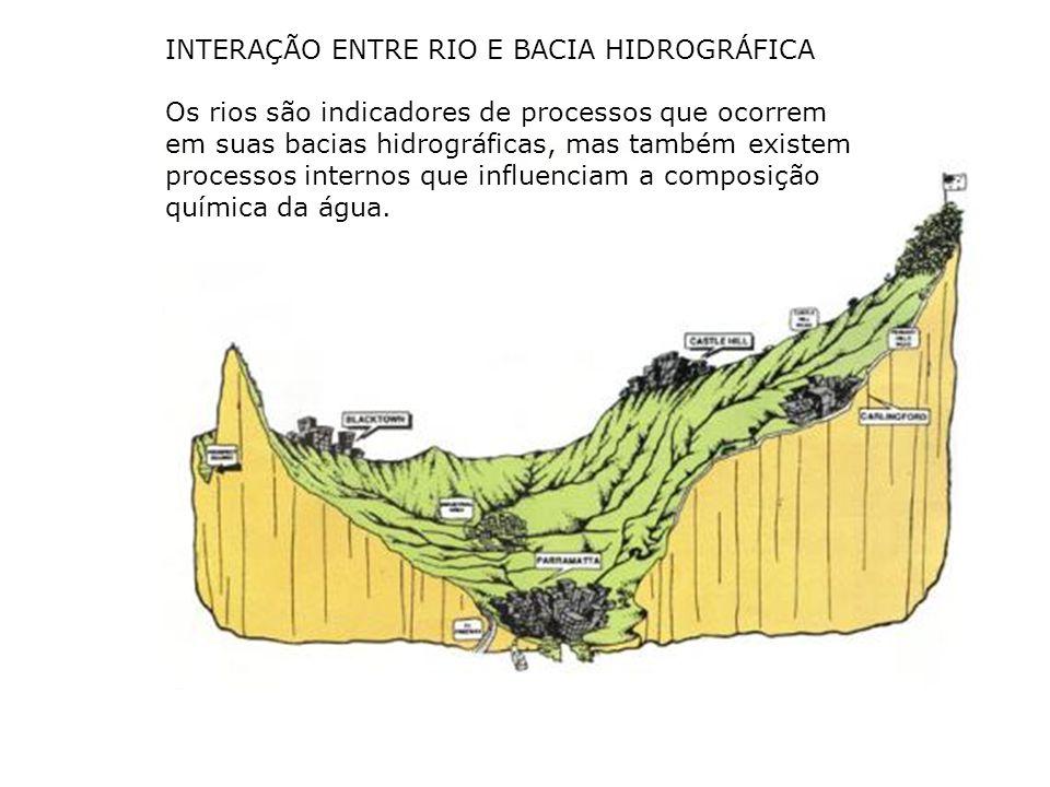 INTERAÇÃO ENTRE RIO E BACIA HIDROGRÁFICA Os rios são indicadores de processos que ocorrem em suas bacias hidrográficas, mas também existem processos i