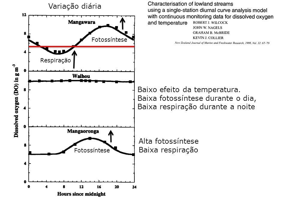 Alta fotossíntese Baixa respiração Baixo efeito da temperatura. Baixa fotossíntese durante o dia, Baixa respiração durante a noite Respiração Fotossín