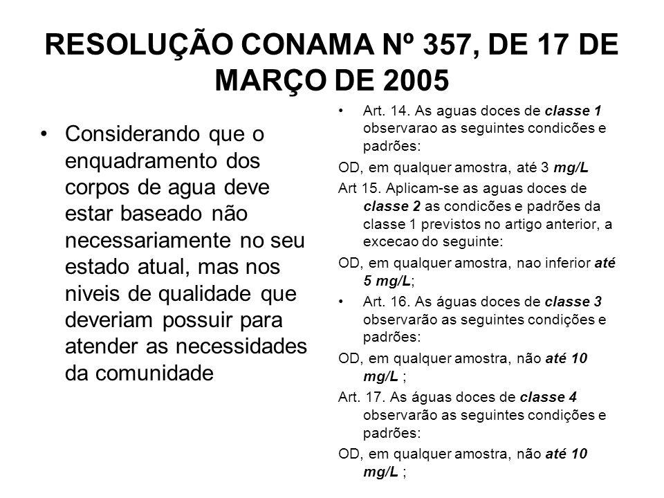 RESOLUÇÃO CONAMA Nº 357, DE 17 DE MARÇO DE 2005 Considerando que o enquadramento dos corpos de agua deve estar baseado não necessariamente no seu esta