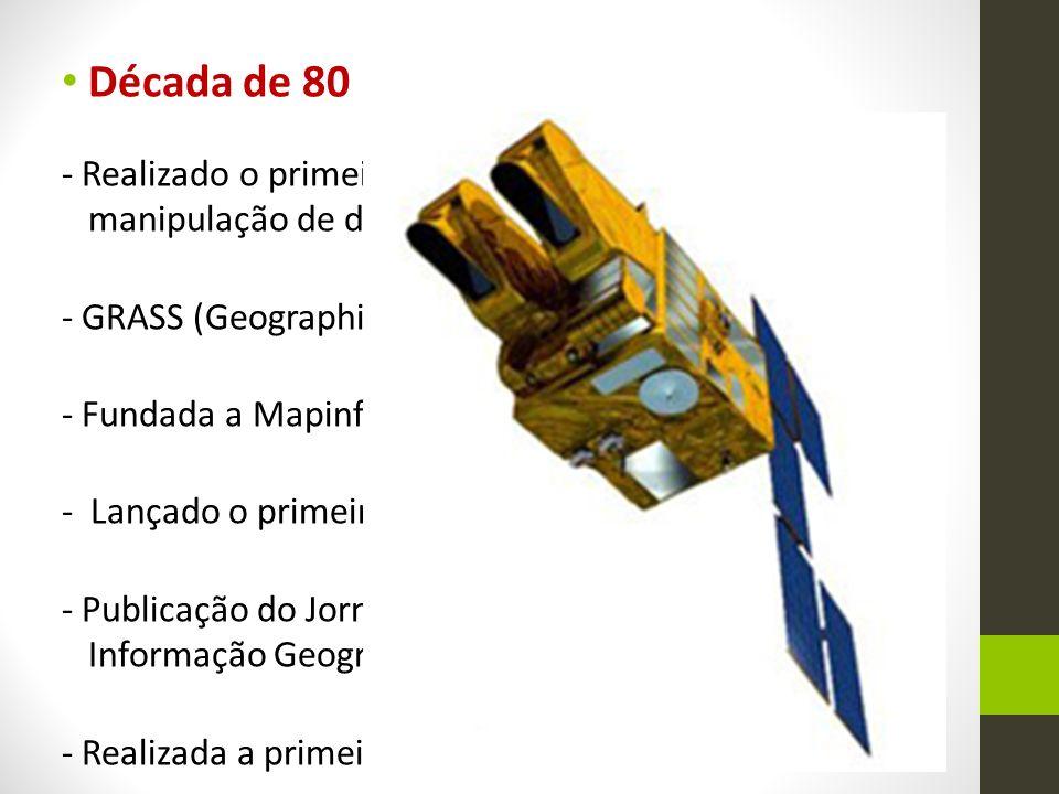 Década de 90 - Publicado Sistemas de Informação Geográfica: Pricípios, técnicas, aplicações e gerência, por Longley, Goodchild, Maguire e Rhind; - Lançado o MapInfo Professional para Windows; - O Centro para Análise Espacial Avançada foi estabelecido em UCL.