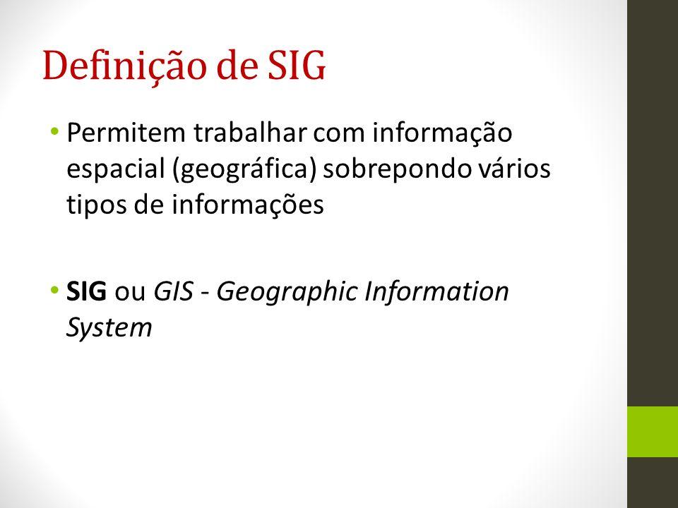 Condicionadas pelo ambiente que surge e realidade do problema; Conjunto de funções automatizadas permitindo armazenar, capturar, manipular e visualizar dados geograficamente localizados (Ozemoy, Smith e Sicherman, 1981) Definição de SIG