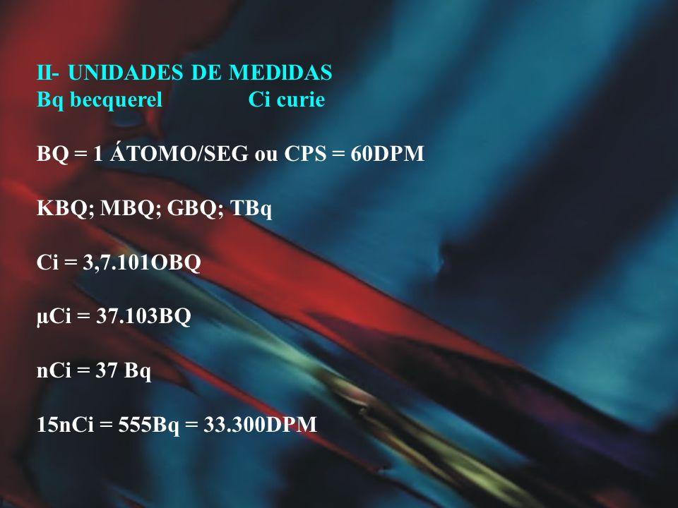 II- UNIDADES DE MEDlDAS Bq becquerel Ci curie BQ = 1 ÁTOMO/SEG ou CPS = 60DPM KBQ; MBQ; GBQ; TBq Ci = 3,7.101OBQ µCi = 37.103BQ nCi = 37 Bq 15nCi = 55
