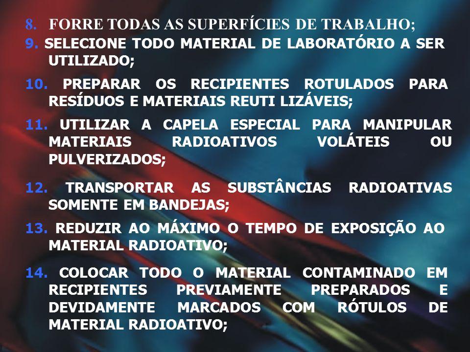 8.FORRE TODAS AS SUPERFÍCIES DE TRABALHO; 14. COLOCAR TODO O MATERIAL CONTAMINADO EM RECIPIENTES PREVIAMENTE PREPARADOS E DEVIDAMENTE MARCADOS COM RÓT