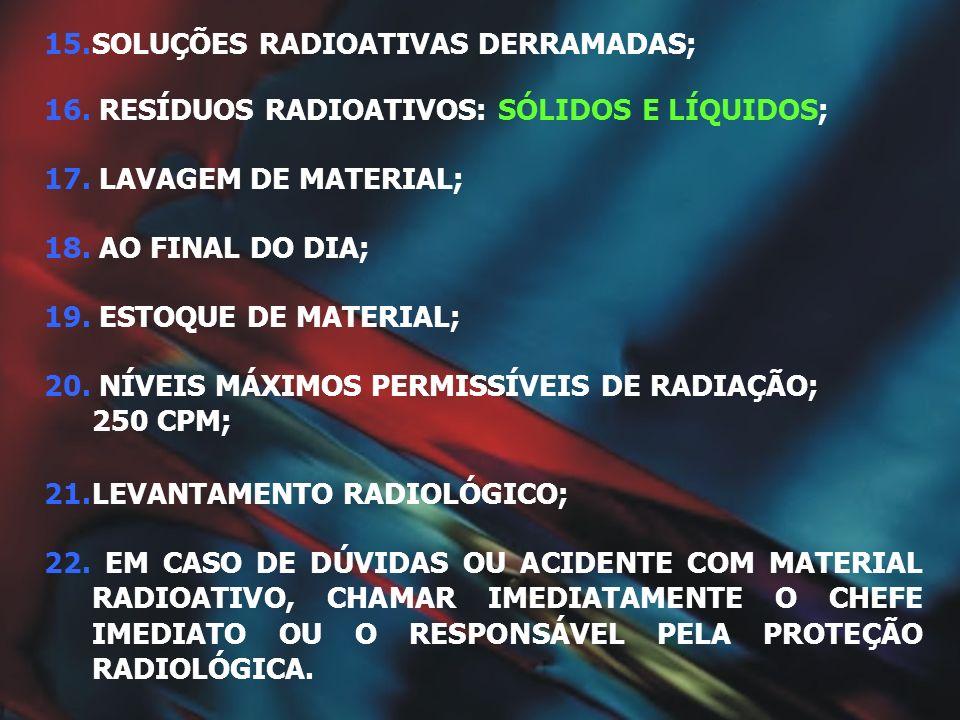 15.SOLUÇÕES RADIOATIVAS DERRAMADAS; 22. EM CASO DE DÚVIDAS OU ACIDENTE COM MATERIAL RADIOATIVO, CHAMAR IMEDIATAMENTE O CHEFE IMEDIATO OU O RESPONSÁVEL