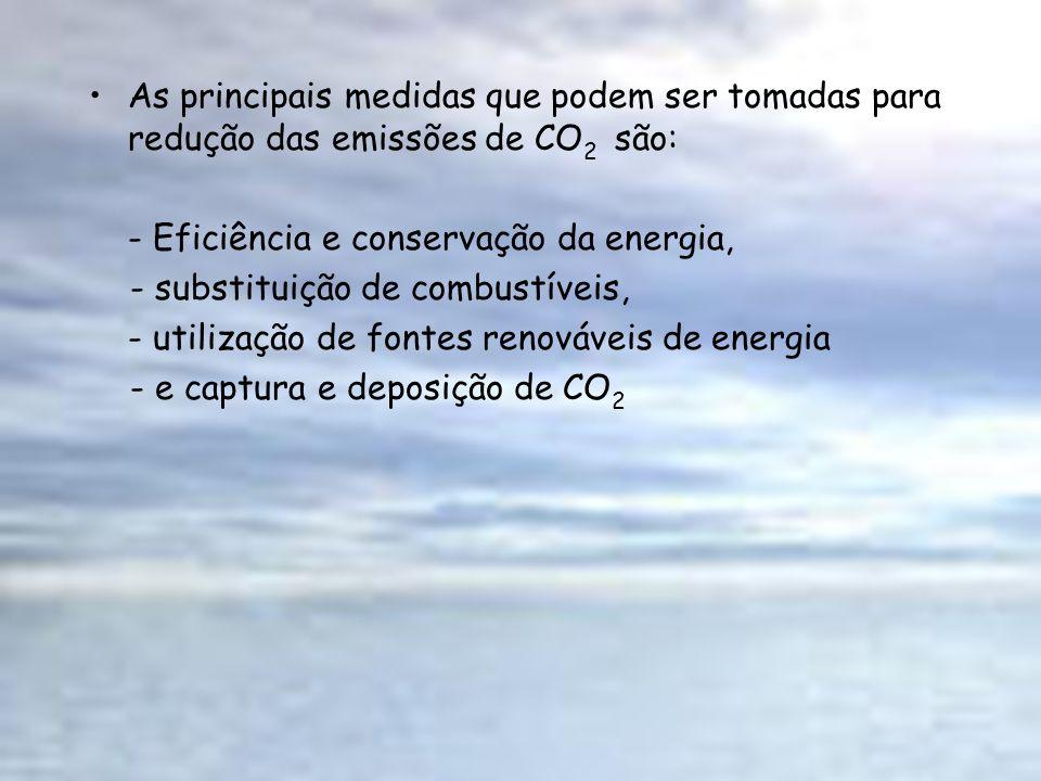 As principais medidas que podem ser tomadas para redução das emissões de CO 2 são: - Eficiência e conservação da energia, - substituição de combustíve