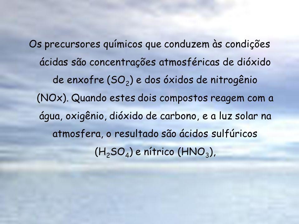 Os precursores químicos que conduzem às condições ácidas são concentrações atmosféricas de dióxido de enxofre (SO 2 ) e dos óxidos de nitrogênio (NOx)