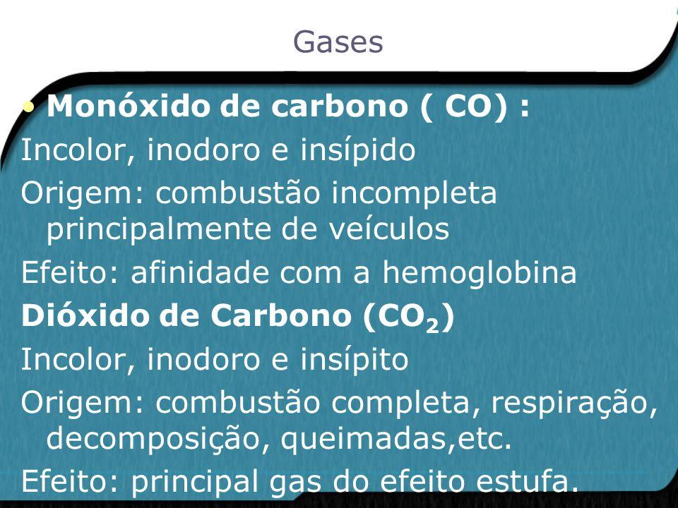 Monóxido de carbono ( CO) : Incolor, inodoro e insípido Origem: combustão incompleta principalmente de veículos Efeito: afinidade com a hemoglobina Di