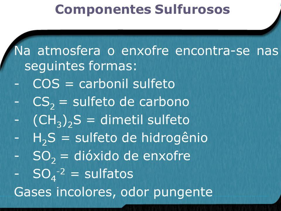 Na atmosfera o enxofre encontra-se nas seguintes formas: - COS = carbonil sulfeto - CS 2 = sulfeto de carbono - (CH 3 ) 2 S = dimetil sulfeto - H 2 S