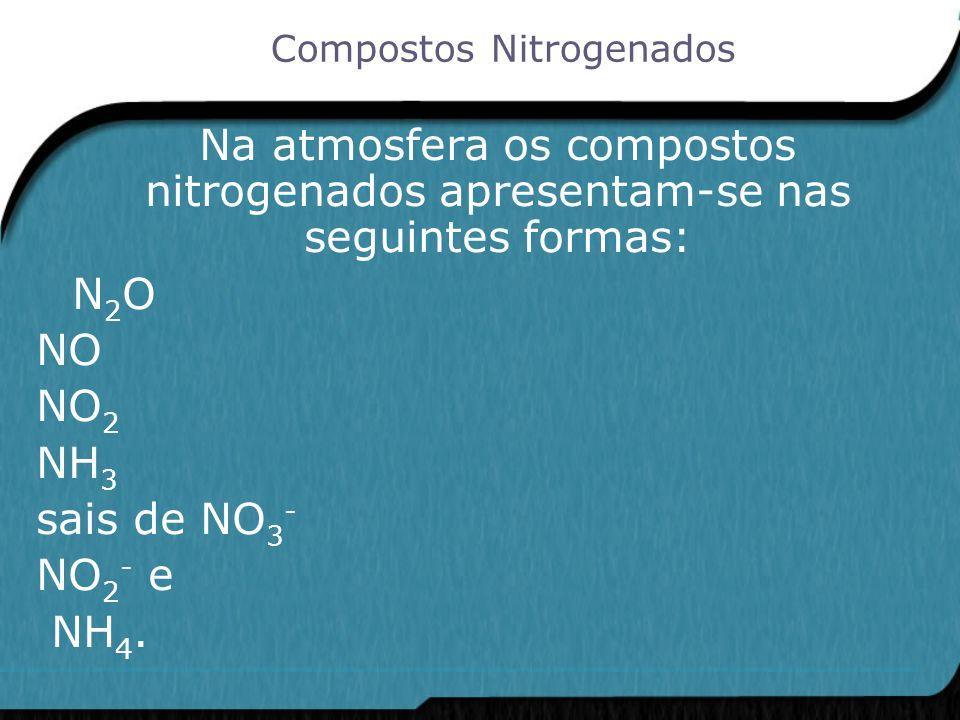 Na atmosfera os compostos nitrogenados apresentam-se nas seguintes formas: N 2 O NO NO 2 NH 3 sais de NO 3 - NO 2 - e NH 4. Compostos Nitrogenados