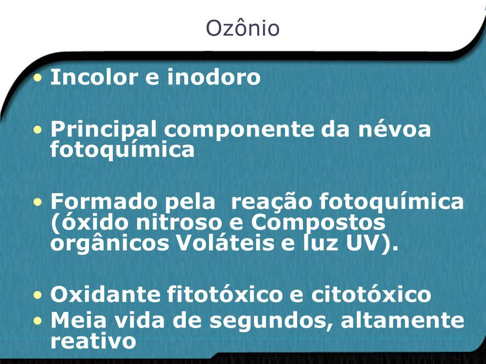Ozônio Incolor e inodoro Principal componente da névoa fotoquímica Formado pela reação fotoquímica (óxido nitroso e Compostos orgânicos Voláteis e luz