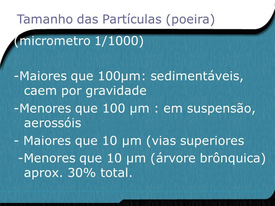 (micrometro 1/1000) -Maiores que 100μm: sedimentáveis, caem por gravidade -Menores que 100 μm : em suspensão, aerossóis - Maiores que 10 μm (vias supe
