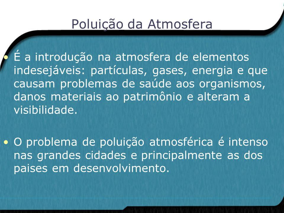 Poluição da Atmosfera É a introdução na atmosfera de elementos indesejáveis: partículas, gases, energia e que causam problemas de saúde aos organismos