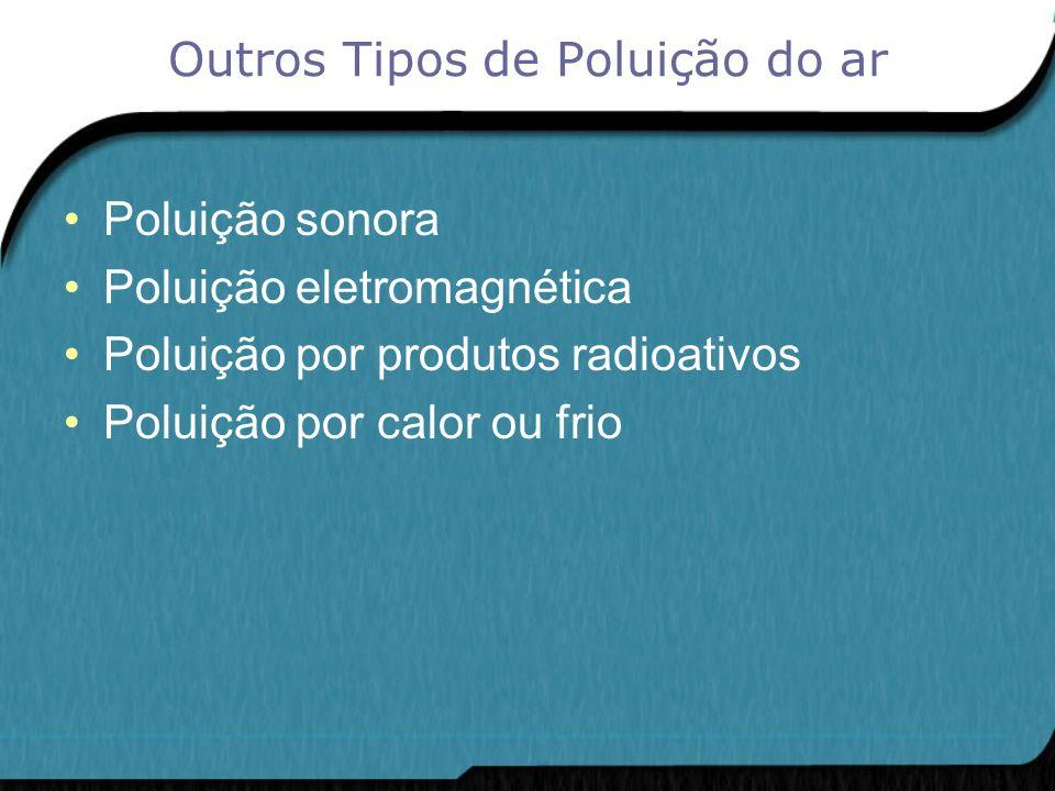 Outros Tipos de Poluição do ar Poluição sonora Poluição eletromagnética Poluição por produtos radioativos Poluição por calor ou frio