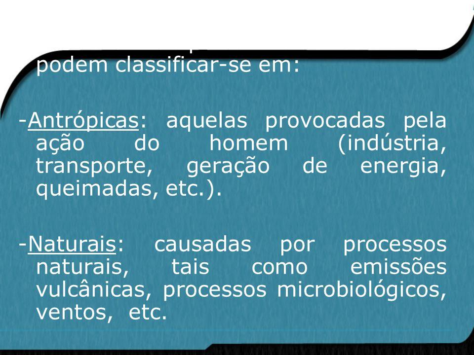 As emissões de poluentes atmosféricos podem classificar-se em: -Antrópicas: aquelas provocadas pela ação do homem (indústria, transporte, geração de e