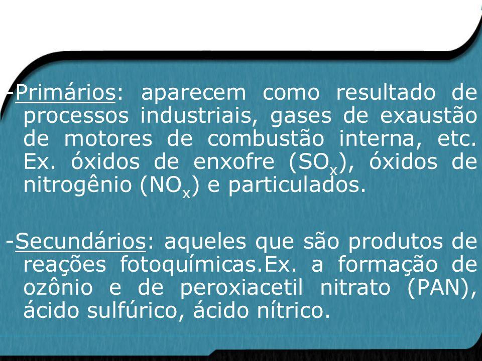 -Primários: aparecem como resultado de processos industriais, gases de exaustão de motores de combustão interna, etc. Ex. óxidos de enxofre (SO x ), ó