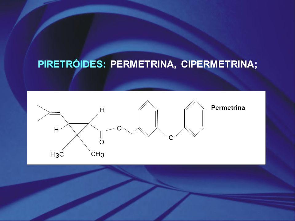 PIRETRÓIDES: PERMETRINA, CIPERMETRINA; O O O H H CH 3 H 3 C Permetrina