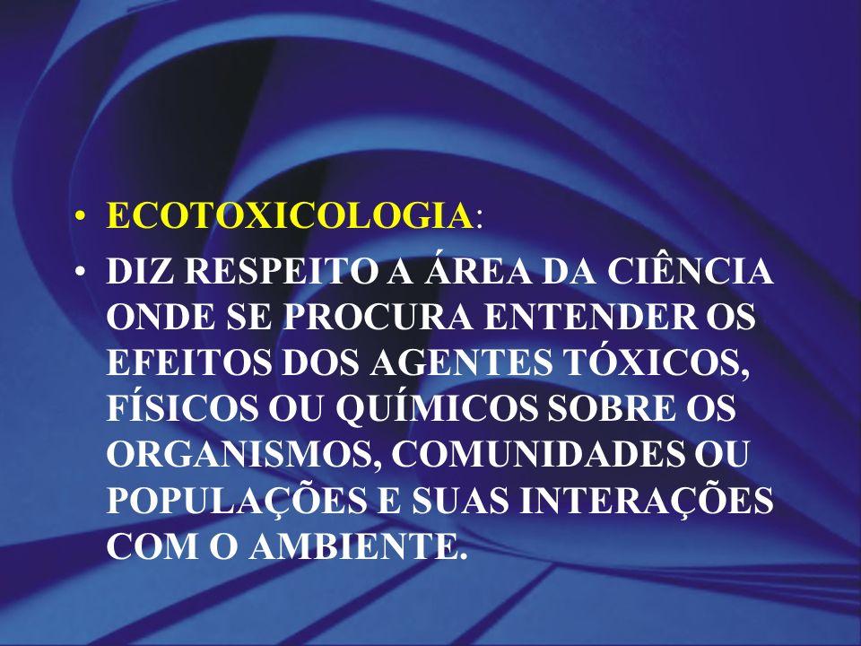ECOTOXICOLOGIA: DIZ RESPEITO A ÁREA DA CIÊNCIA ONDE SE PROCURA ENTENDER OS EFEITOS DOS AGENTES TÓXICOS, FÍSICOS OU QUÍMICOS SOBRE OS ORGANISMOS, COMUN