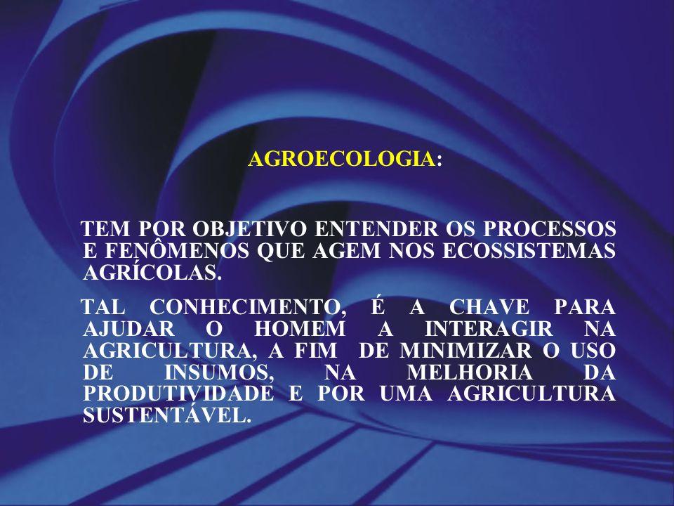 AGROECOLOGIA: TEM POR OBJETIVO ENTENDER OS PROCESSOS E FENÔMENOS QUE AGEM NOS ECOSSISTEMAS AGRÍCOLAS. TAL CONHECIMENTO, É A CHAVE PARA AJUDAR O HOMEM