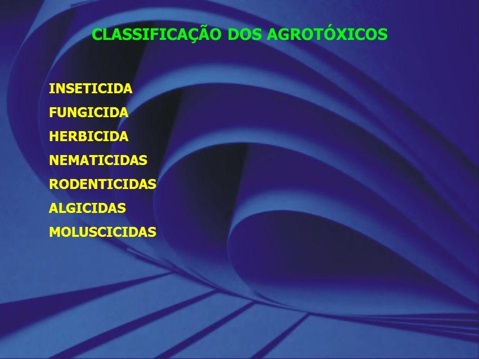 CLASSIFICAÇÃO DOS AGROTÓXICOS INSETICIDA FUNGICIDA HERBICIDA NEMATICIDAS RODENTICIDAS ALGICIDAS MOLUSCICIDAS