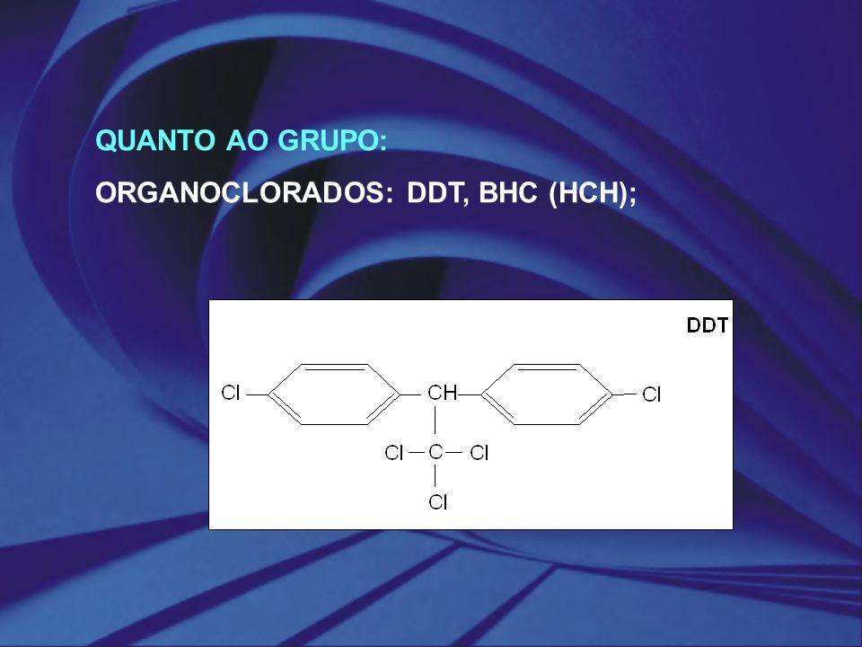 QUANTO AO GRUPO: ORGANOCLORADOS: DDT, BHC (HCH);