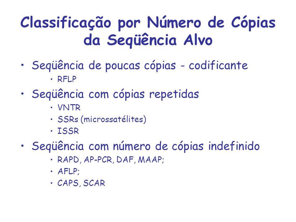 Classificação por Número de Cópias da Seqüência Alvo Seqüência de poucas cópias - codificante RFLP Seqüência com cópias repetidas VNTR SSRs (microssat