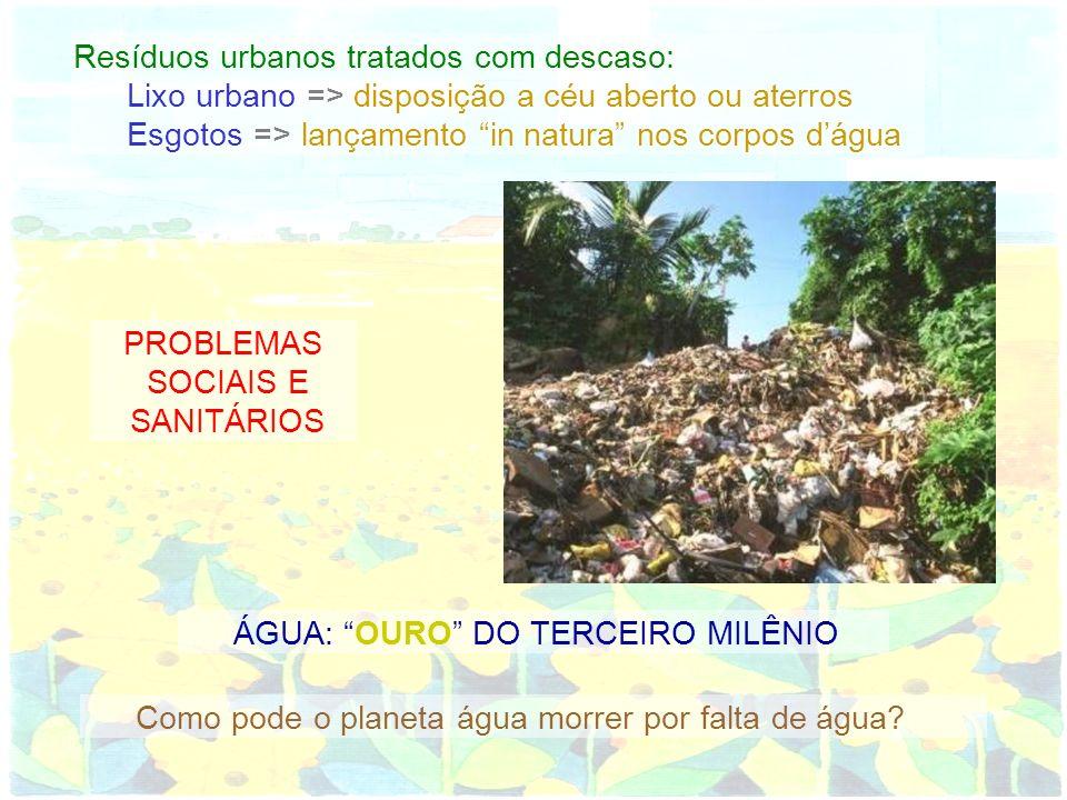 Resíduos urbanos tratados com descaso: Lixo urbano => disposição a céu aberto ou aterros Esgotos => lançamento in natura nos corpos dágua PROBLEMAS SO