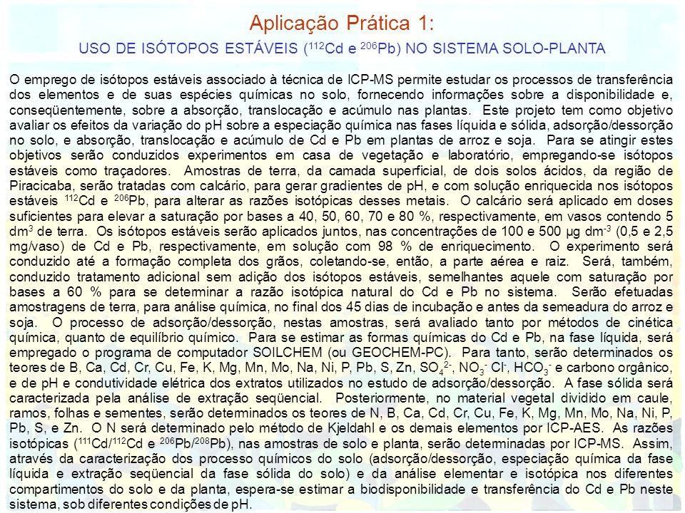 Aplicação Prática 1: USO DE ISÓTOPOS ESTÁVEIS ( 112 Cd e 206 Pb) NO SISTEMA SOLO-PLANTA O emprego de isótopos estáveis associado à técnica de ICP-MS p