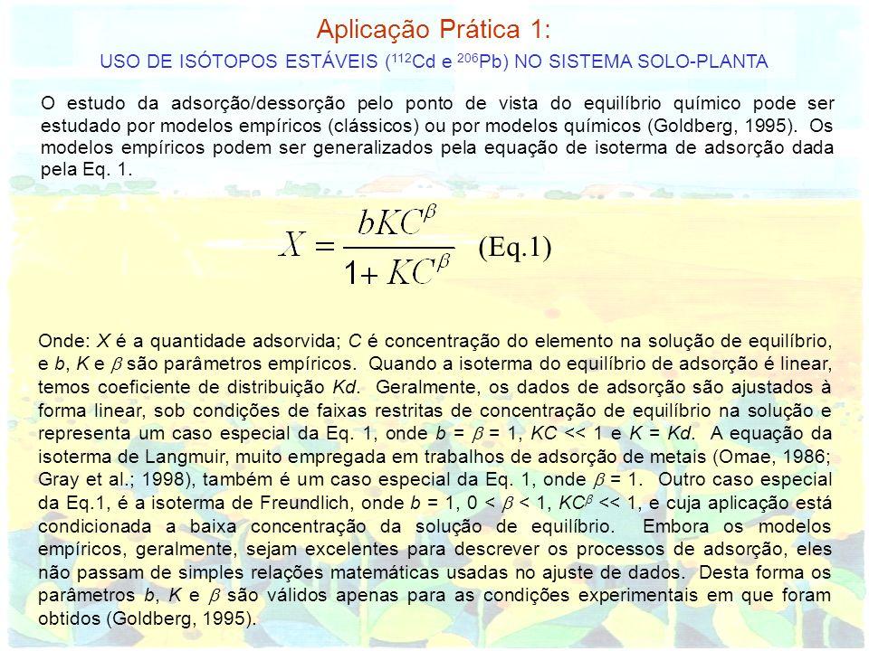 Aplicação Prática 1: USO DE ISÓTOPOS ESTÁVEIS ( 112 Cd e 206 Pb) NO SISTEMA SOLO-PLANTA O estudo da adsorção/dessorção pelo ponto de vista do equilíbr