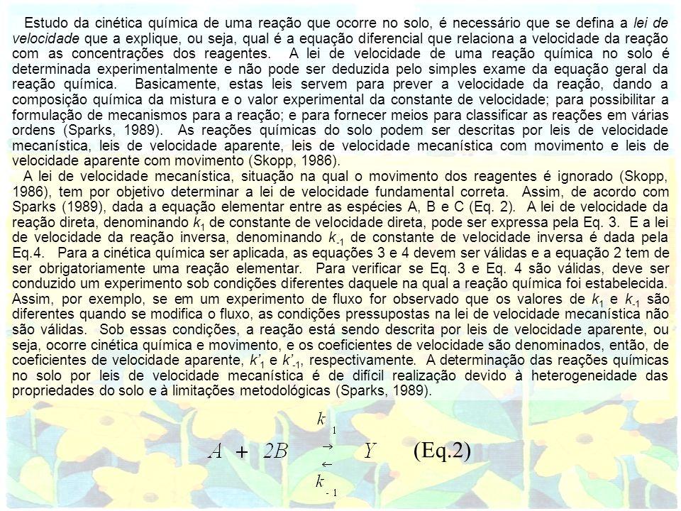 Estudo da cinética química de uma reação que ocorre no solo, é necessário que se defina a lei de velocidade que a explique, ou seja, qual é a equação
