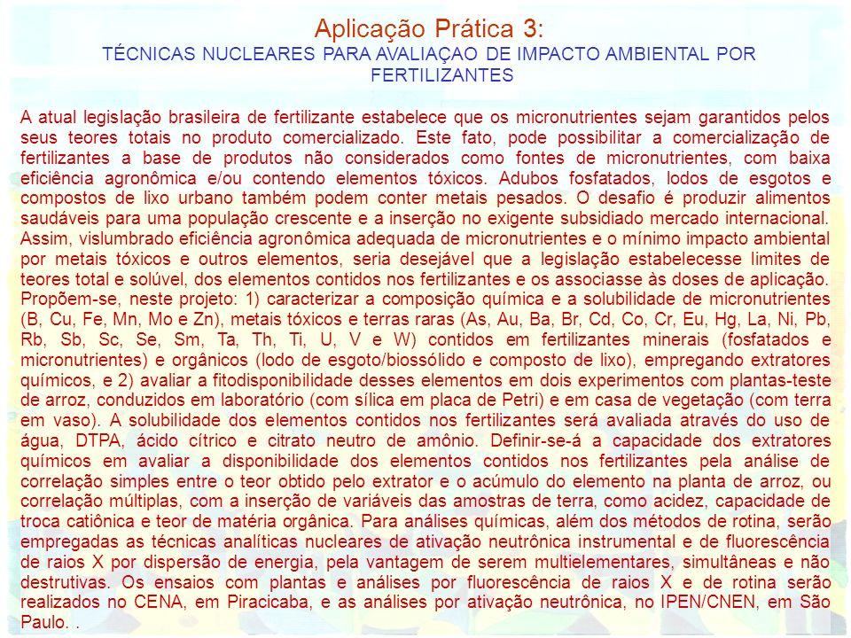 Aplicação Prática 3: TÉCNICAS NUCLEARES PARA AVALIAÇAO DE IMPACTO AMBIENTAL POR FERTILIZANTES A atual legislação brasileira de fertilizante estabelece