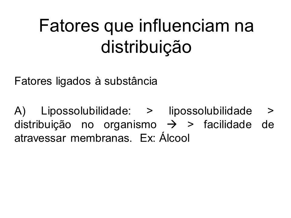 Fatores que influenciam na distribuição Fatores ligados à substância A) Lipossolubilidade: > lipossolubilidade > distribuição no organismo > facilidad