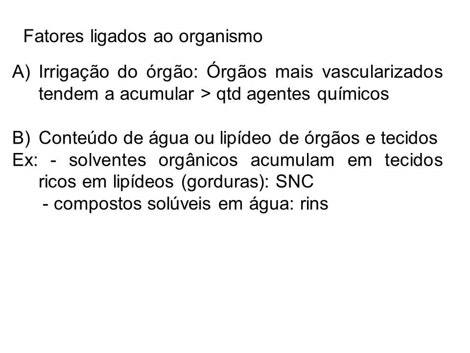 Fatores ligados ao organismo A)Irrigação do órgão: Órgãos mais vascularizados tendem a acumular > qtd agentes químicos B)Conteúdo de água ou lipídeo d