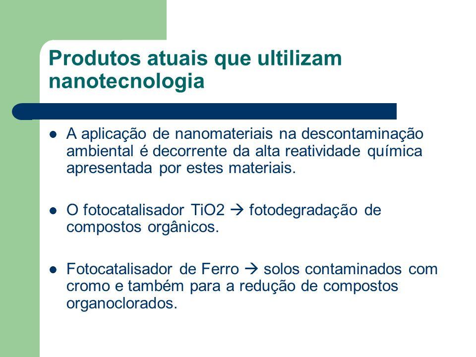 Produtos atuais que ultilizam nanotecnologia A aplicação de nanomateriais na descontaminação ambiental é decorrente da alta reatividade química aprese