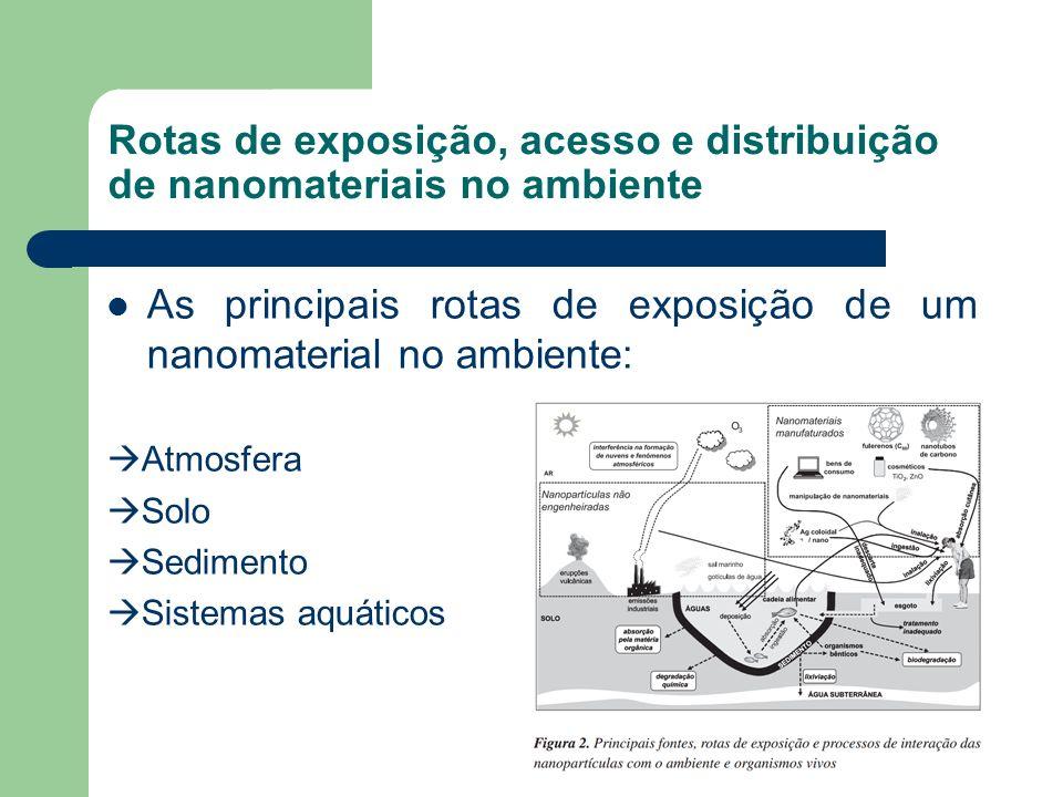 Rotas de exposição, acesso e distribuição de nanomateriais no ambiente As principais rotas de exposição de um nanomaterial no ambiente: Atmosfera Solo