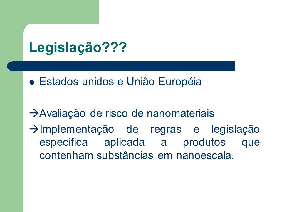 Legislação??? Estados unidos e União Européia Avaliação de risco de nanomateriais Implementação de regras e legislação especifica aplicada a produtos
