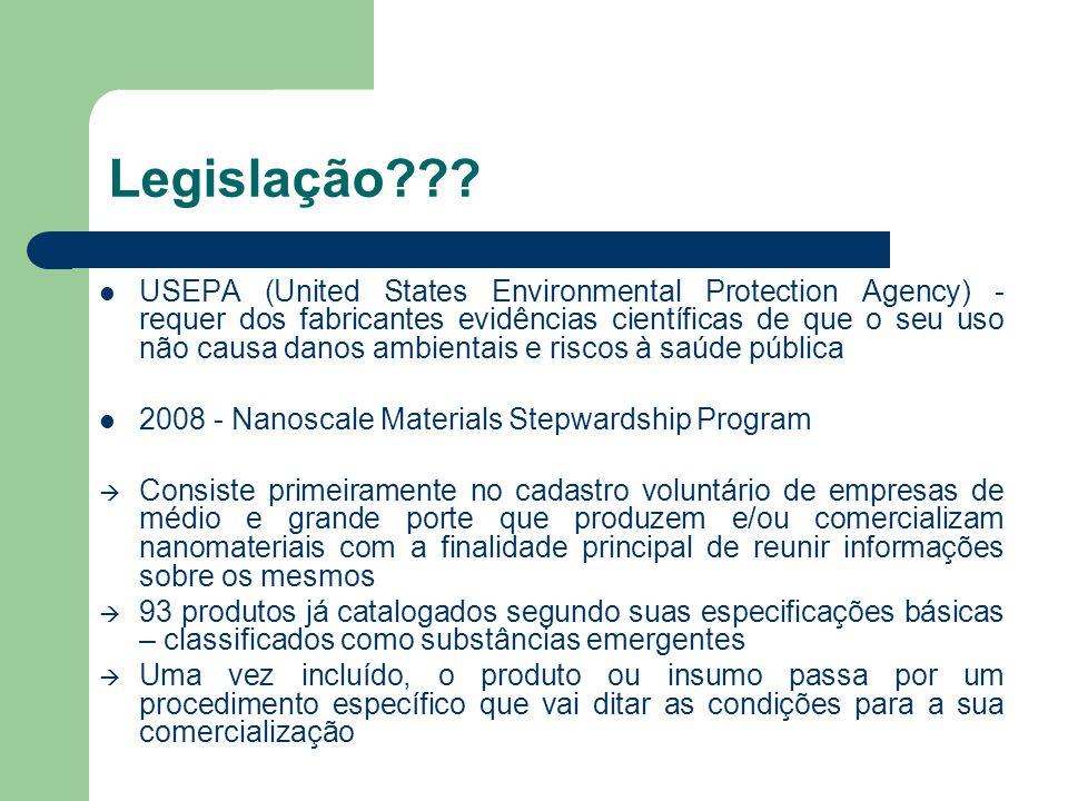 Legislação??? USEPA (United States Environmental Protection Agency) - requer dos fabricantes evidências científicas de que o seu uso não causa danos a