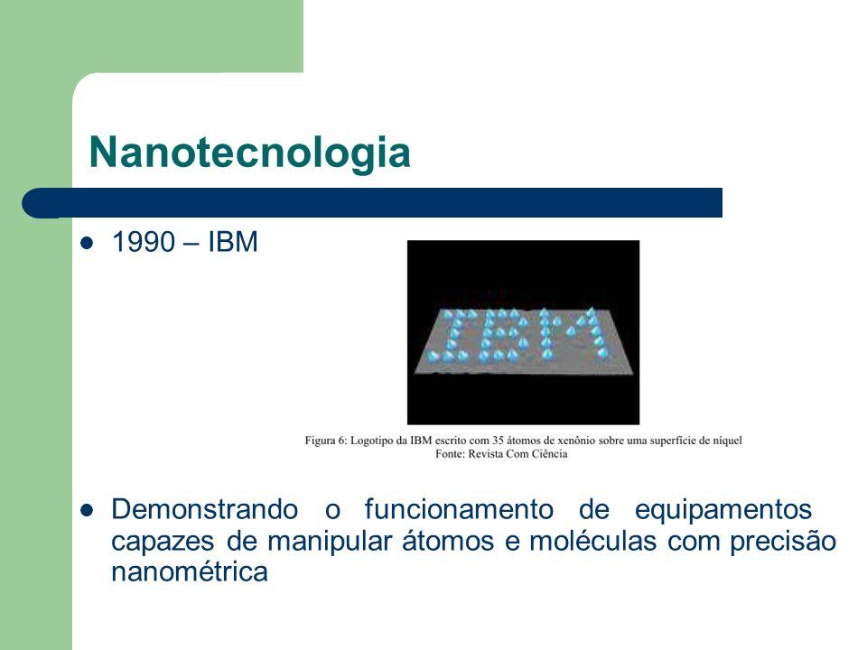 1990 – IBM Demonstrando o funcionamento de equipamentos capazes de manipular átomos e moléculas com precisão nanométrica Nanotecnologia