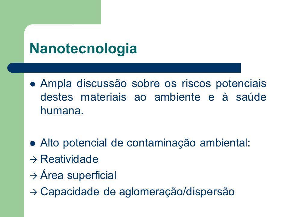 Nanotecnologia Ampla discussão sobre os riscos potenciais destes materiais ao ambiente e à saúde humana. Alto potencial de contaminação ambiental: Rea