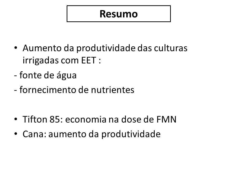 Aumento da produtividade das culturas irrigadas com EET : - fonte de água - fornecimento de nutrientes Tifton 85: economia na dose de FMN Cana: aument