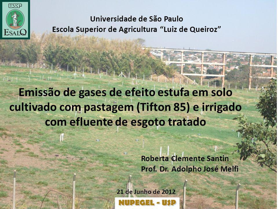 Universidade de São Paulo Escola Superior de Agricultura Luiz de Queiroz Emissão de gases de efeito estufa em solo cultivado com pastagem (Tifton 85)