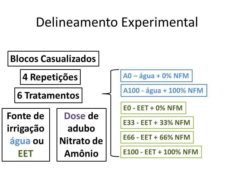 Delineamento Experimental Blocos Casualizados 4 Repetições 6 Tratamentos A0 – água + 0% NFM A100 - água + 100% NFM Fonte de irrigação água ou EET Dose