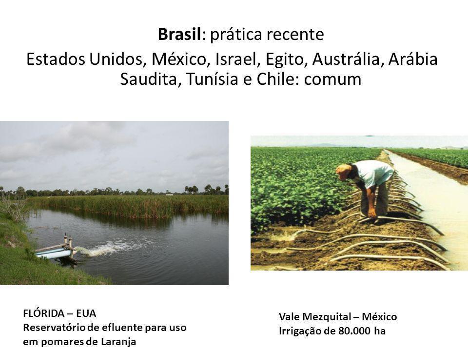 Brasil: prática recente Estados Unidos, México, Israel, Egito, Austrália, Arábia Saudita, Tunísia e Chile: comum FLÓRIDA – EUA Reservatório de efluent