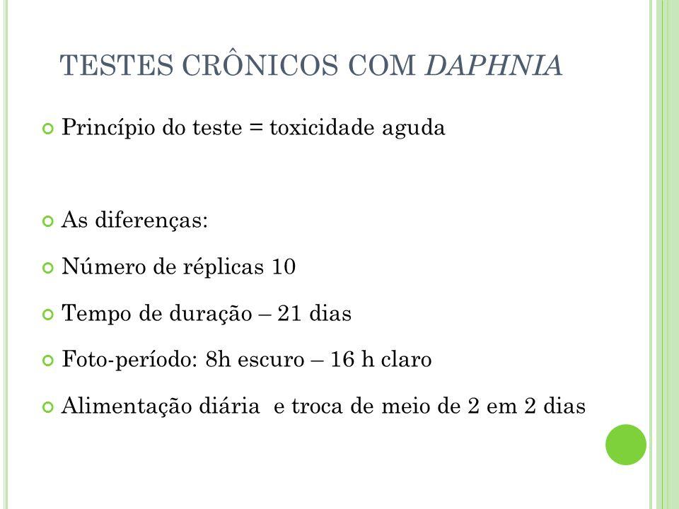TESTES CRÔNICOS COM DAPHNIA Princípio do teste = toxicidade aguda As diferenças: Número de réplicas 10 Tempo de duração – 21 dias Foto-período: 8h esc