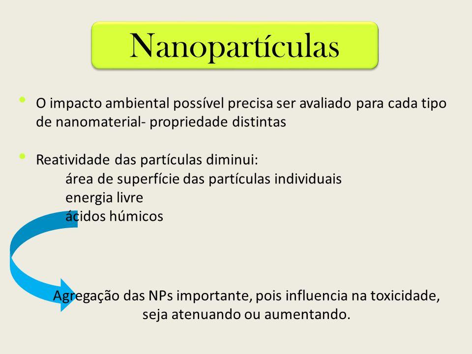O impacto ambiental possível precisa ser avaliado para cada tipo de nanomaterial- propriedade distintas Reatividade das partículas diminui: área de su