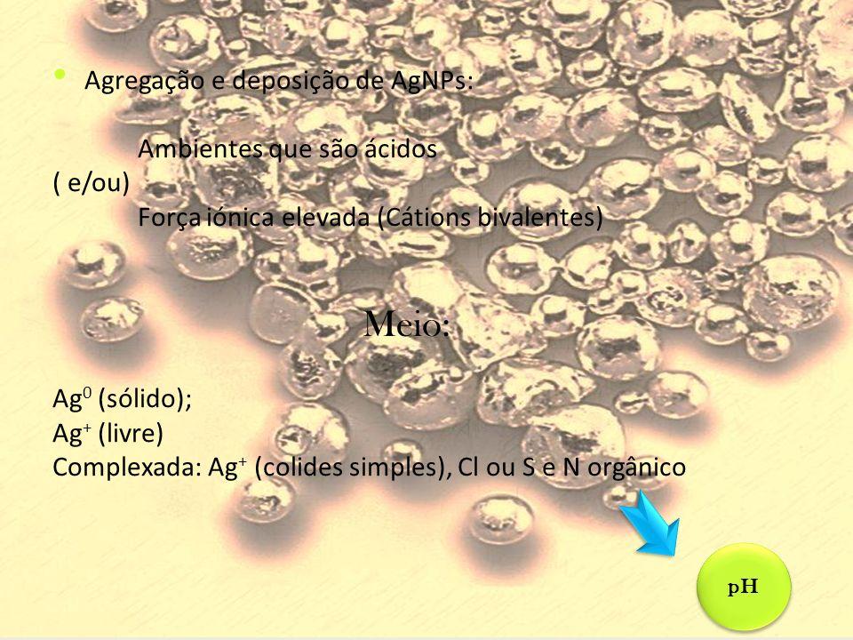 Agregação e deposição de AgNPs: Ambientes que são ácidos ( e/ou) Força iónica elevada (Cátions bivalentes) Meio: Ag 0 (sólido); Ag + (livre) Complexad