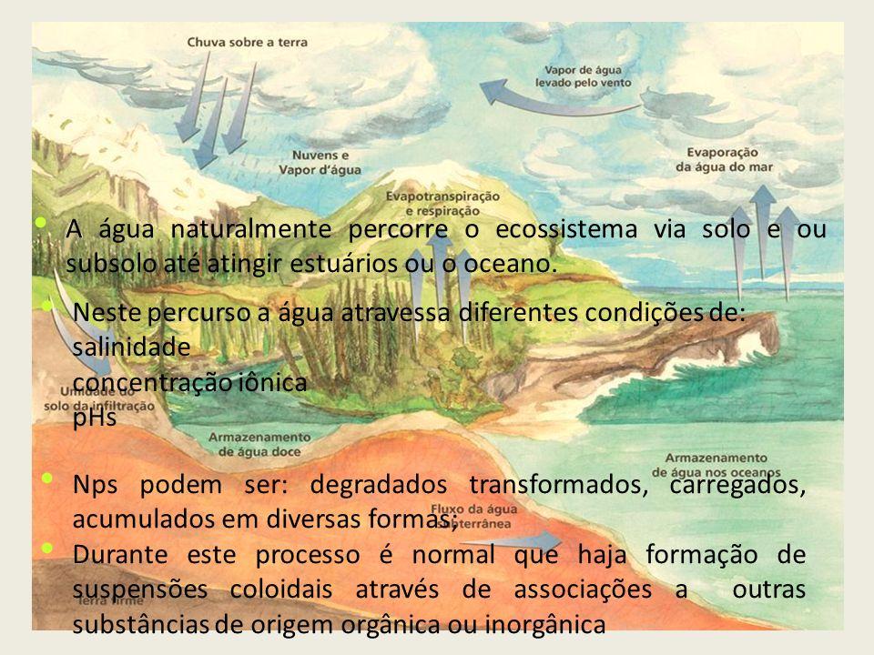 Formação de coloides também é promovida por perturbações químicas e físicas como: Força iónica e pH Temperatura Em água de estuários e na água salgada - maior tendência de formação de coloides sedimentação Agregados podem ser ingeridos por animais
