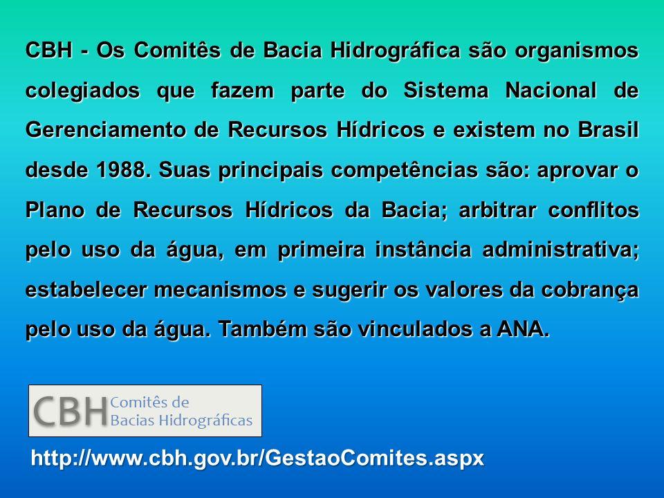 CBH - Os Comitês de Bacia Hidrográfica são organismos colegiados que fazem parte do Sistema Nacional de Gerenciamento de Recursos Hídricos e existem n