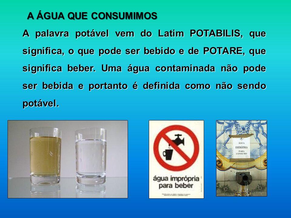 A palavra potável vem do Latim POTABILIS, que significa, o que pode ser bebido e de POTARE, que significa beber. Uma água contaminada não pode ser beb