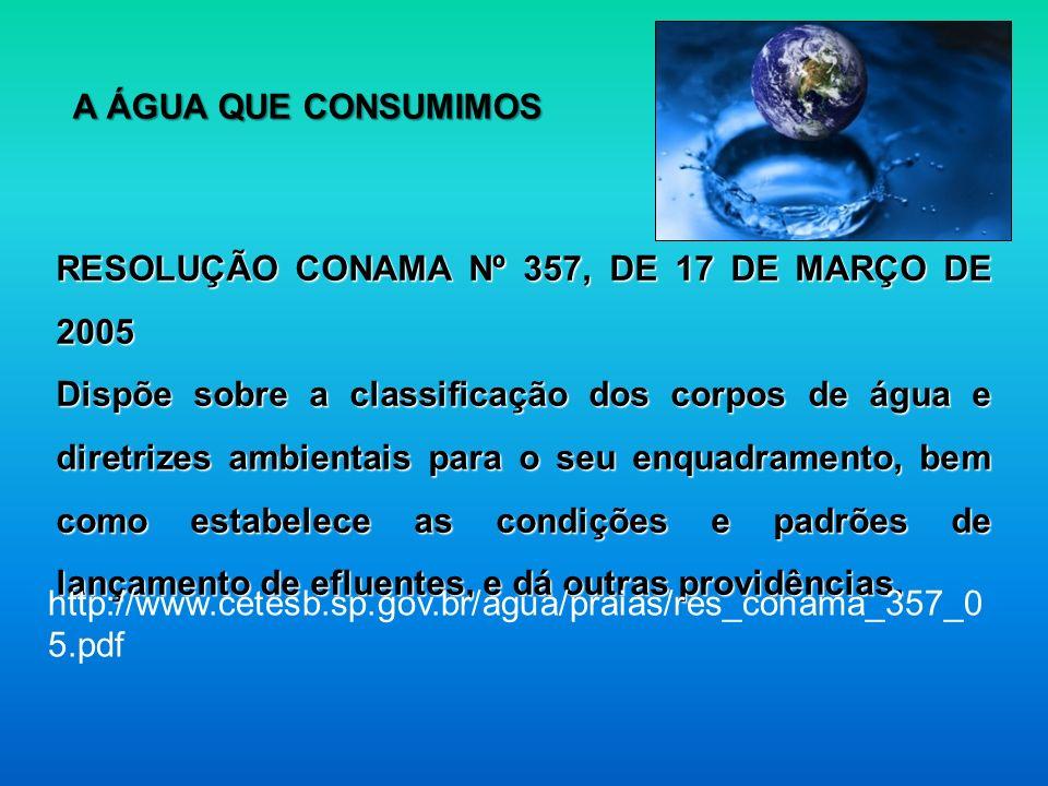 RESOLUÇÃO CONAMA Nº 357, DE 17 DE MARÇO DE 2005 Dispõe sobre a classificação dos corpos de água e diretrizes ambientais para o seu enquadramento, bem