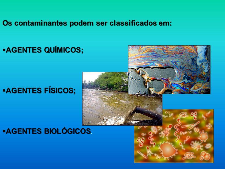 Os contaminantes podem ser classificados em: AGENTES QUÍMICOS; AGENTES QUÍMICOS; AGENTES FÍSICOS; AGENTES FÍSICOS; AGENTES BIOLÓGICOS AGENTES BIOLÓGIC